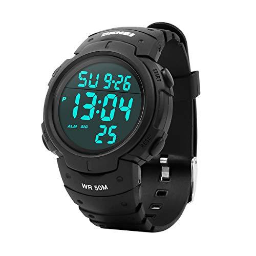 welltop Reloj digital deportivo para hombre, resistente al agua, reloj deportivo para correr al aire libre, con retroiluminación LED, temporizador, alarma, reloj deportivo LED para hombre