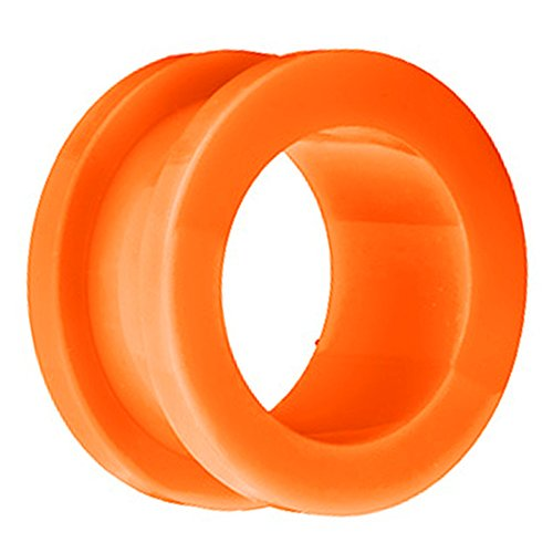 Piersando Flesh Tunnel Ohr Plug Piercing Ohrpiercing Schraub Acryl Kunststoff 6 mm Orange