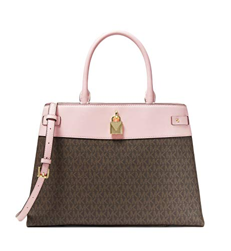 """Logo-print canvas Satchel with Gold-tone hardware Snap fastening Interior details: front slip pocket. Lining: 100% polyester Handle drop: 5.50"""", Adjustable strap: 18.5""""-22"""" 14.25""""W X 9.75""""H X 6.25""""D"""