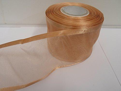 Beautiful Ribbon 1 Rouleau de 70 mm 7cm avivés Ruban Organza x 25 mètres Or Caramel Double Face Satin Edge Pure 70 mm