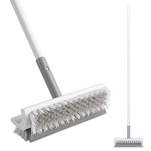 """Eyliden Floor Scrub Brush with Long Handle and Squeegee -48"""",Cleaning Tool,Brush with bristles for Bathroom,Kitchen, Patio Garage, Deck Tile Marble Stone Wood Floors. (Dual Brush)"""