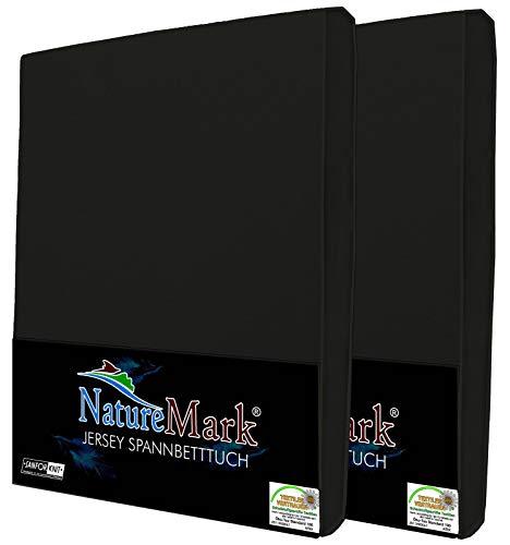 NatureMark 2er Pack Jersey Spannbettlaken, Spannbetttuch 100% Baumwolle in vielen Größen und Farben MARKENQUALITÄT ÖKOTEX Standard 100 | 90 x 200 cm - 100 x 200 cm - schwarz