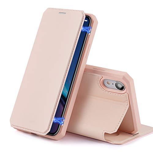 DUX DUCIS Hülle für iPhone XR, Premium Leder Magnetic Closure Flip Schutzhülle handyhülle für Apple iPhone XR Tasche (Rosa)