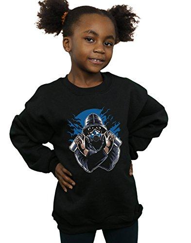 Drewbacca Mädchen Gas Mask Graffiti Sweatshirt Schwarz 7-8 Years