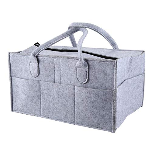 OVBBESS Bolsa de almacenamiento plegable con tapa, organizador de pañales para bebés, juguetes para niños, bolsa portátil para coche, viaje, cambiador de mesa, organizador