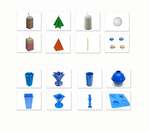 Proops Set x 8 Candle Moulds, 4 Shaped Tray, Pillar, Pentagon, Star, Pyramid, Rectangular, Rocket, Sphere (S7613). Free UK Postage