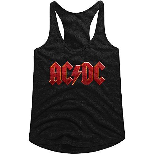 American Classics AC/DC Hard Rock Band Music Group Red Distressed Logo Womens Tank Top Tee