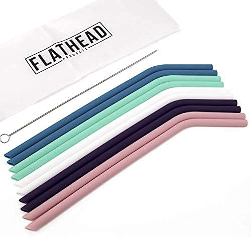 Flathead Reusable Silicone Drinking Straws with Travel Case Cleaning Brush - Extra long for 30oz and 20oz Tumblers - (Set of 10) - BPA Free