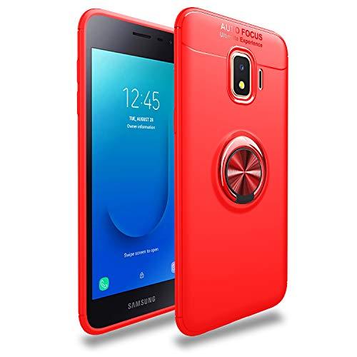 TiHen Funda Samsung Galaxy J2 Core/J260, 360 Grados Protective con Anillo Soporte+ Vidrio Templado Case Cover Skin móviles telefonía Carcasas Fundas para Samsung Galaxy J2 Core/J260 -Rojo