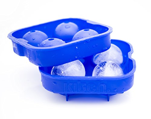 Kitch Ice Ball Maker Mold - Flexible Silicone Ice Tray - Molds 4 X 4.5cm Round Ice Ball Spheres - Cobalt Blue