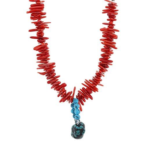 Rote Halskette mit blauen Achat Stein Anhänger - Blue Anhänger Halskette für Frauen - Ungewöhnliche Halsketten