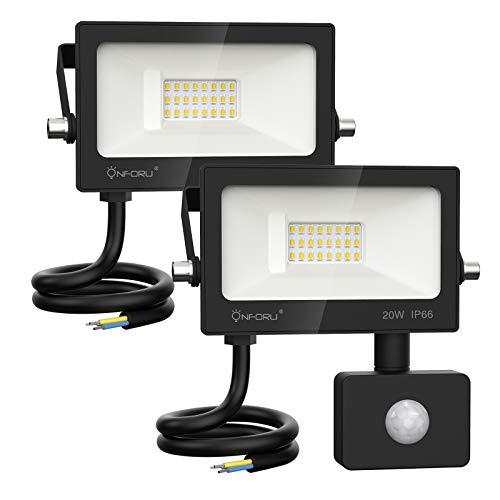 Onforu 20w Foco LED con Sensor de Movimiento (2 Pack), 2000LM Super Potente Iluminación de Seguridad, Impermeable IP66 Proyector Foco LED con Detector, 6000K Blanco Frío Exteriores Jardín Garaje Patio
