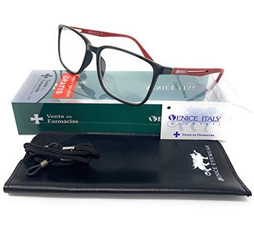 Gafas de lectura unisex, presbicia, vista cansada, Diseño en 3 Colores. VENICE Steel - Dioptrías: 1 a 3,5 (Negro, 1,50)