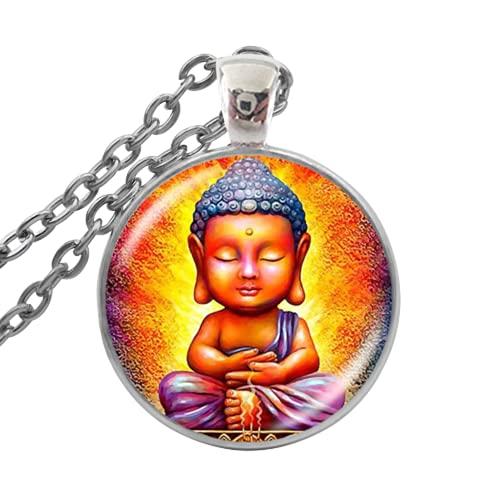 Collar budista de Buda con colgante de cúpula de cristal y cadena de amuletos de buena suerte
