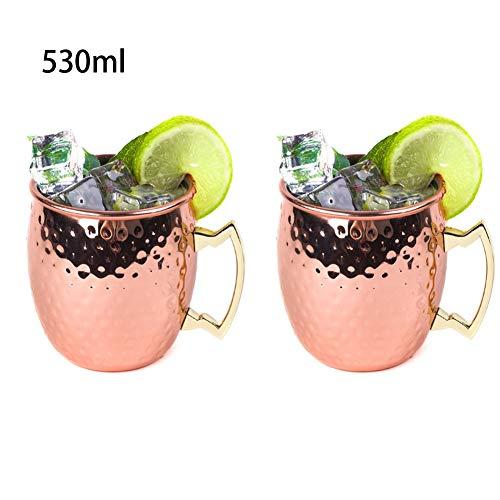 Moscow Mule Tazas, Mula de Moscú Original Cobre Puro Martillado Solido Jarra Hecho a Mano Oreja Soldada, 530 ML/18 oz, Cocktail Coctel Regalo