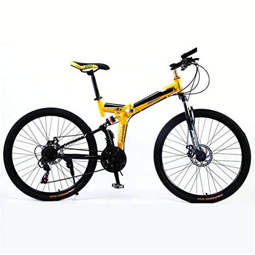 PHY Montaña de la Bicicleta Plegable Adultos Ruedas de 26 Pulgadas Hombres 17.5 Pulgadas/Marco de Aluminio Mediana, suspensión Dual, de Freno de Disco mecánico,21 Speed