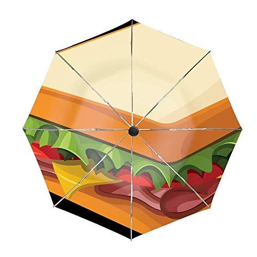 Paraguas de Viaje PNG Sandwich de Dibujos Animados con botón Doble de Cierre automático a Prueba de Viento