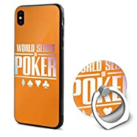 爽やか 幾何模様 ポーカー クールグラデーション poker アイフォンX ケース 360度 回転 ケース リング付き スタンド機能、落下防止、耐衝撃 軽量 指紋防止 耐水 散熱加工 TPU シリコン素材電話ケース
