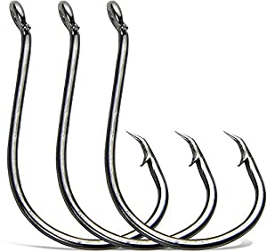 Fishing Hooks Circle Hooks Offset Octopus Beak Black High Carbon Steel Fish Hook Suitable for Freshwater and Saltwater (10/0-30pcs)