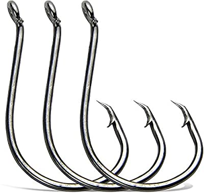 OROOTL 100-200pcs Octopus Sea Fishing Hooks 2X Strong Barded Black High Carbon Steel Fishing Tackle Circle Hooks for Saltwater Bass Fishing (100pcs 3/0)