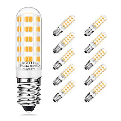 AGOTD E14 Bombillas LED 6W/520LM Blanco Cálido 2700K Bombillas en Lugar de 60W E14 Bombillas Halógena Bombilla LED con 64 Bombilla 360 ° ángulo de luz CRI 80+Lámpara de Ahorro de Energía,Paquete de 10