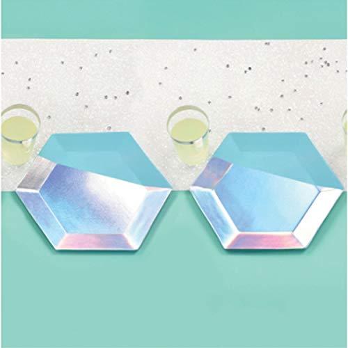 Amscan International 570091 papier en plastic servies, tafelloper glinsterende partij