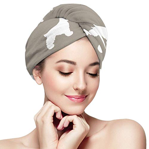 N/A Cocker Épagneul Silhouette Tissu Races de Chien Moyen Brun Enveloppements pour Femme Bonnet de Douche Anti-rizz Absorbant Twist Séchage Serviette Chapeau