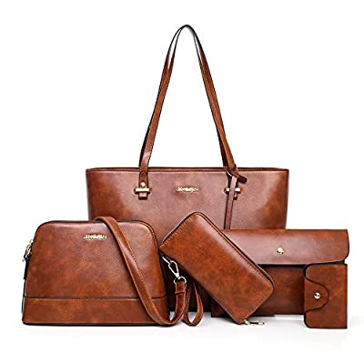 Large Leather Tote Bag for Women Purses and Handbags Sets Shoulder Bags 5pcs, Brown, normal