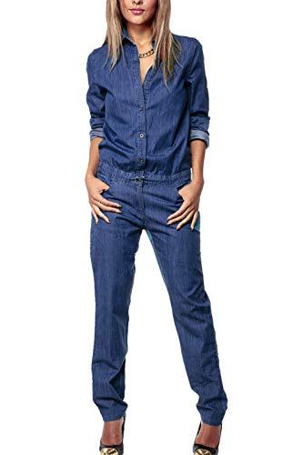 Suvotimo Damen Denim Overalls Lange Ärmel Jeans Jumpsuitst blau M