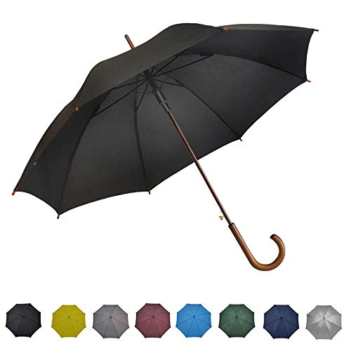 """SoulRain Stick Umbrella Automatic Open Curved Wooden Hook Handle Rain Black Umbrellas with Classic J Handle 48"""" Arc Classic Windproof for Men and Women"""