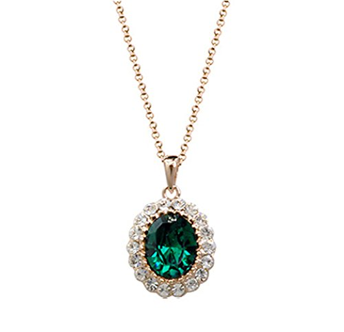 Rigant Oval Shaped Swarovski Elements Crystal Pendant Necklace Fashion Jewelry for Women (Emerald Green)