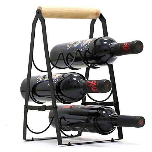 Cozy Vibe Weinregal für 6 Flaschen faltbar, Metall-Weinhalter, freistehend, fertig montiert, einfach zu montieren