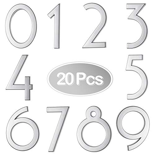 20 Pieces 2.8 Inch Mailbox Numbers 0-9, Self-Adhesive House Numbers, Street Door Numbers, Address Signs for Window, Door, Cars, House Mailbox, Office (Silver)