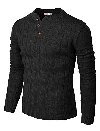 H2H Mens Casual Slim Fit Pullover Sweaters Knitted Henley Long Sleeve Thermal Black US L/Asia XL (CMOSWL042)