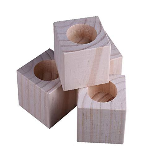 Hölzerne Betterhöhung, 3 cm bis 10 cm, quadratische Möbelheber, 4 Packungen, Rillenbettheber – Tischerhöhungen zum Anheben von Sofa-Beinen (Größe C).