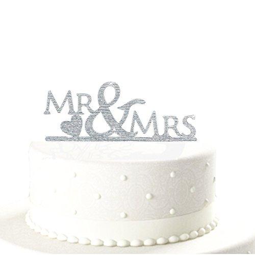 Oblique-Unique® Mr & Mrs Hochzeitstorte Topper Acryl Silber Glitzernd Kuchendeckel Hochzeit
