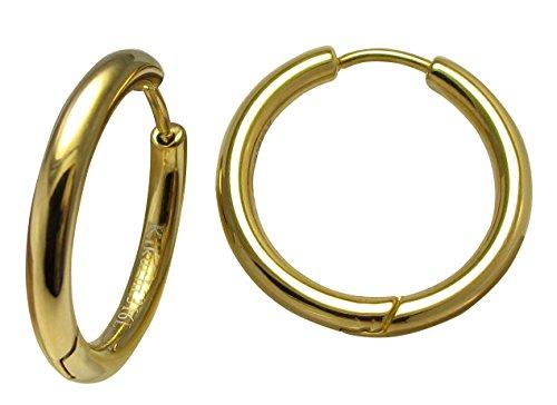 Kikuchi dames heren klapcreolen klassieke roestvrij stalen oorbellen titanium staafjes oorbellen Hoops Huggies goud 20mmØ Slim tube ERTS014