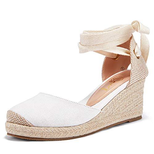 Ruanyu Womens Espadrille Platform Wedge Sandals Closed Toe Lace Up Slingback High Heel Dress Sandals