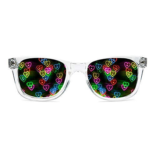 GloFX Heart Effect Diffraction Glasses - See Hearts! - Special Effect Rave EDM Festival Light Changing Eyewear (Clear)