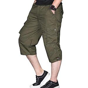 ODFMCE カーゴパンツ メンズ ハーフパンツ 7分丈 夏 パンツ 綿 ズボン ゆったり 大きいサイズ (グリーン, XXXXL)