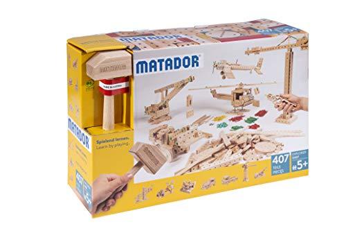 Matador 11407 E407 Baukasten, holzfarben, bunt
