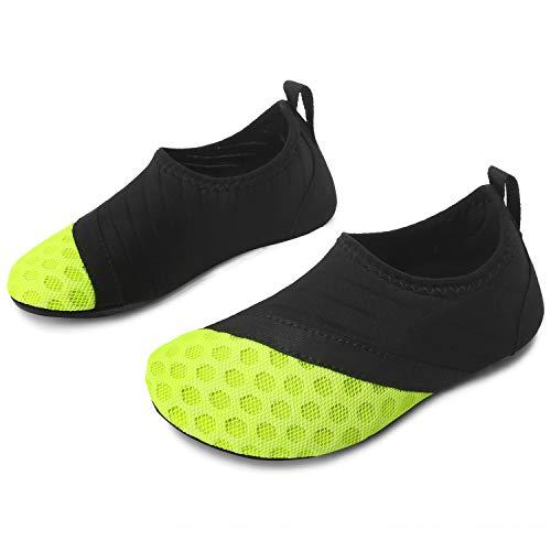 L-RUN Kinder Schwimmen Wasser Schuhe Barfuß Aqua Socken Schuhe für Strand Pool Surfen Yoga (2,5-3,5 M US Little Kid, Dot_Green)