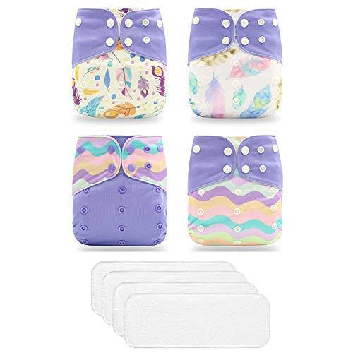 ED-Lumos 4Pcs Violette Feder Wiederverwendbare Baby-Taschenwindeln Stoffwindeln mit 4Pcs Einsätzen für die meisten Babys und Kleinkinder