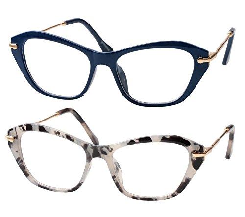 SOOLALA Womens Quality Fashion Alloy Arms Cateye Customized Reading Glasses, BlueGlass, 1.5