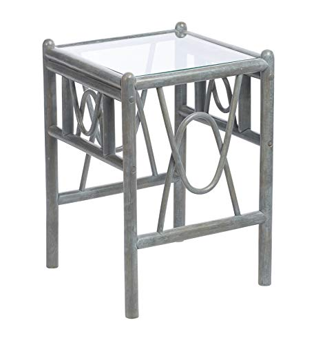 Desser Bali Grey Side Table with Toughened Glass Top – Sturdy Cane Pole Frame Indoor Conservatory or Living Room Furniture - H47cm x W67cm x D52cm