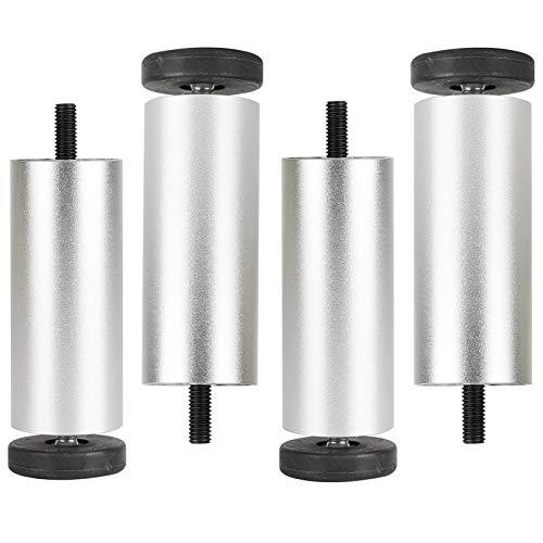 QQF 4 PC Pintas Ajustables 12 cm de Altura de Altura Patas de Mesa Patas de Mesa Patas de Muebles, Altura Ajustable de Acero Inoxidable Cepillado 0-8mm Vienen con tornil Silver-15cm