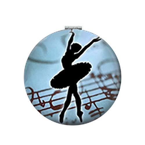 IWINO Elegant Ballet Dansende Pocket Spiegel Ierse Dans Gymnastiek Danser Ballerina Ronde Make-up Spiegel Pu Leer