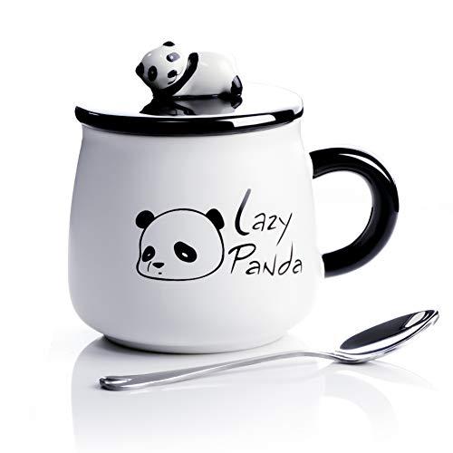 ACOOME Tazza in Ceramica, con Panda 3D,400ml Mug Tazza per Compleanni, Regalo di Natale, da caffè e tè, con Un Cucchiaio e Un Coperchio (Panda 3D)
