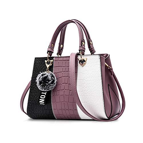 NICOLE & DORIS Damen Handtasche Umhängetasche Henkeltasche Kuriertasche Elegant Damen Handtaschen mit Kaninchen Pelz Kugel Plüsch Schlüsselring Lila 1