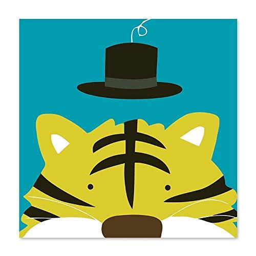 KHGAHD Tigre De Ojos Pequeños Sombrero Pequeño En La Cabeza Del Tigre Dibujar En Canvasdiy Famoso Resumen Diy Pintura Al Óleo Por Números without Frame-100x100cm